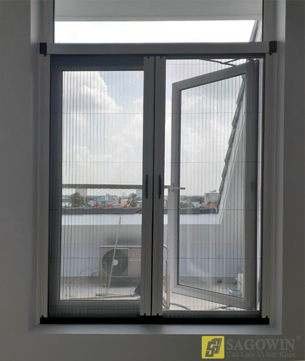 Cửa lưới xếp xích không ray hai cánh hệ 40 (cửa đi, cửa sổ)
